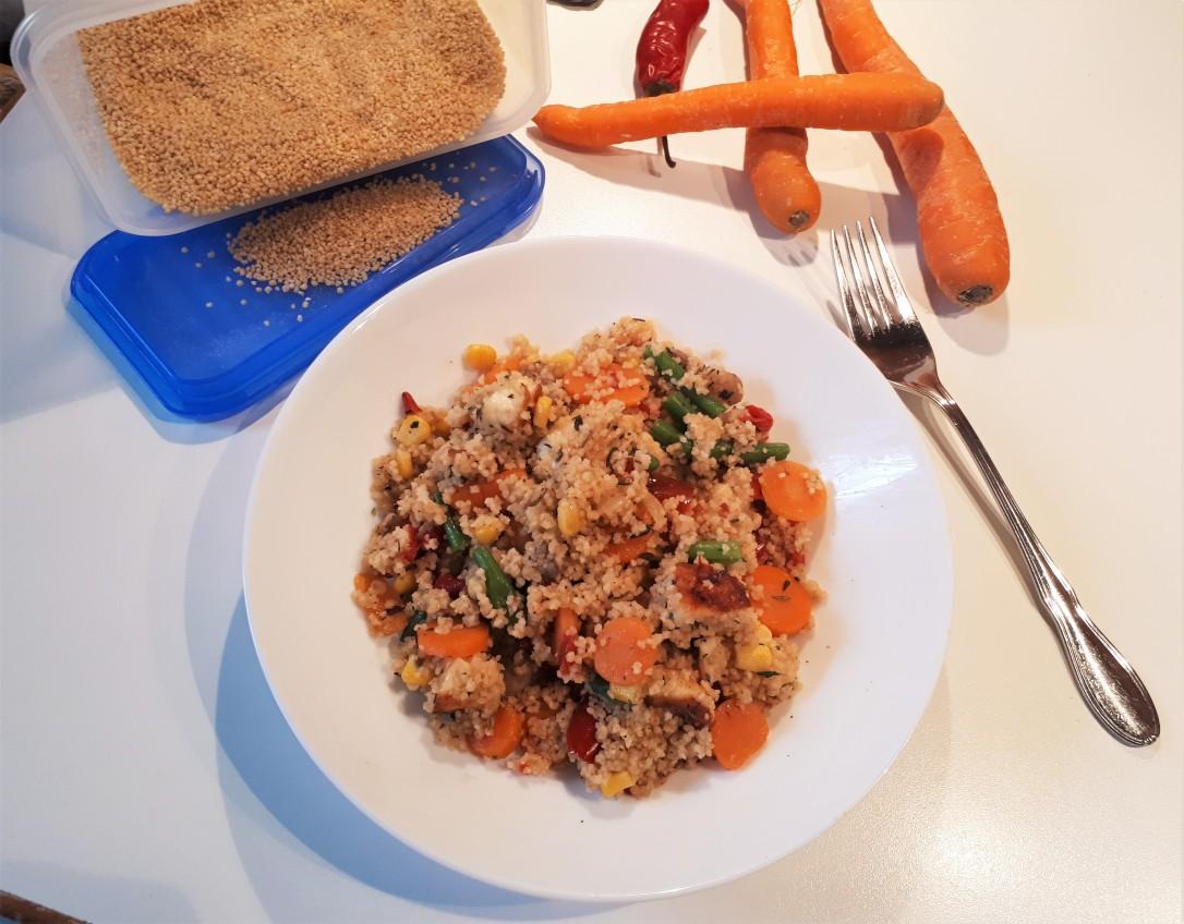 Couscouspfanne mit Halloumi und Gemüse